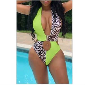 Other - Hollow-out Patchwork Green One-piece Swimwear.